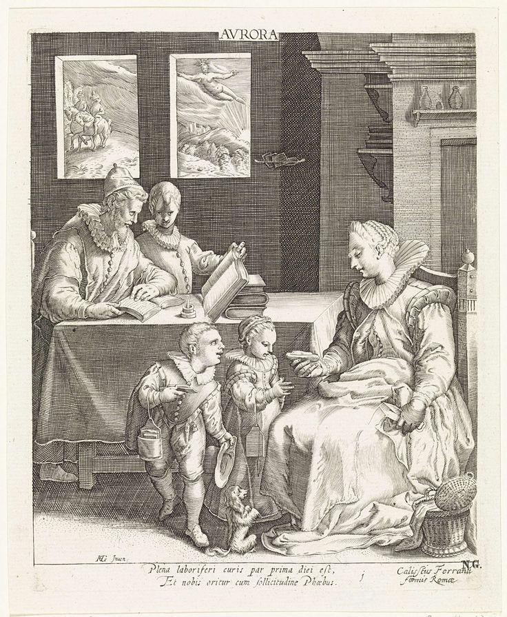 Jan Saenredam | De ochtend, Jan Saenredam, Anonymous, Cornelius Schonaeus, 1630 | In een vertrek zit een moeder met een schaar in haar hand op een stoel. Een naaimand staat naast haar op de grond. Ze geeft een van de twee kinderen die aan haar schoot staan een boterham. Het meisje houdt de handen gevouwen in gebed. Het tweede kind heeft een boterham in de hand. Bij beiden hangt de schoollei aan de arm. Een hondje zit in vragende houding op de grond. Achter hen staat de vader met de oudste…