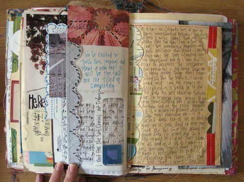 "Ooh I like this idea - ""write on anything, then bind it into a book!"" - What could I write on... receipts, menus, envelopes, material, cereal boxes... fun, fun, fun. #scrapbook #creativejournalling #artjournal"