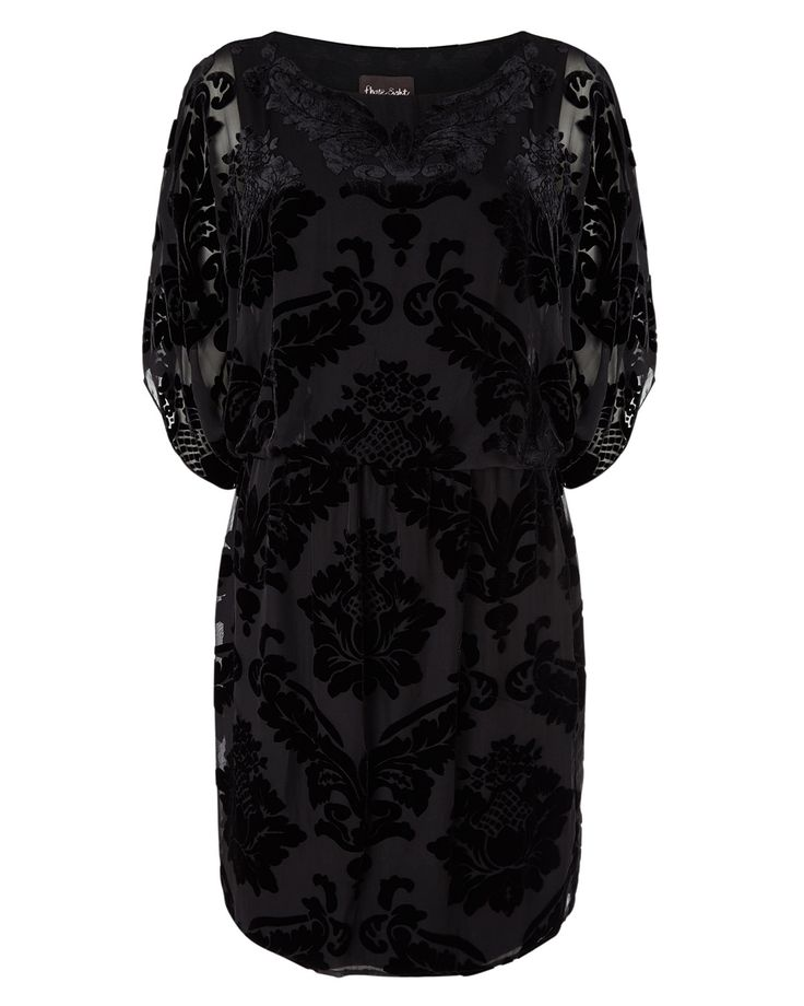 A beautiful woven dress with batwing sleeves, a cinched waist and curved hem.