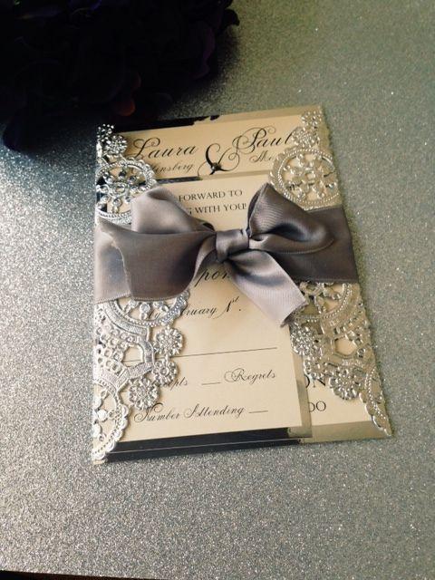 Metallic Silver Doily Wedding Invitation Suite with Ribbon Bow and Rhinestone - www.InvitationsbyErin.com