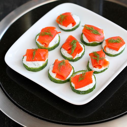Smoked & Cucumber Appetizer Recipe with Caper Yogurt Recipe Appetizers with nonfat plain greek yogurt, capers, dill, english cucumber, smoked salmon, dill
