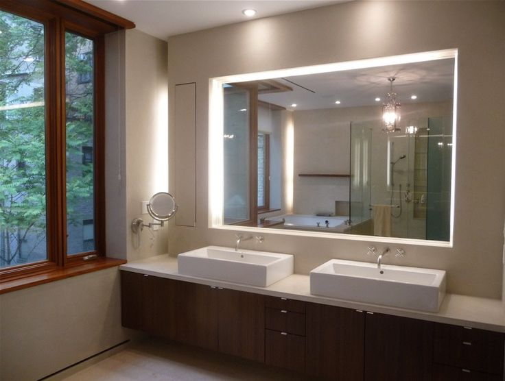 Love This Bathroom The Super Large Brightly Lit Mirror