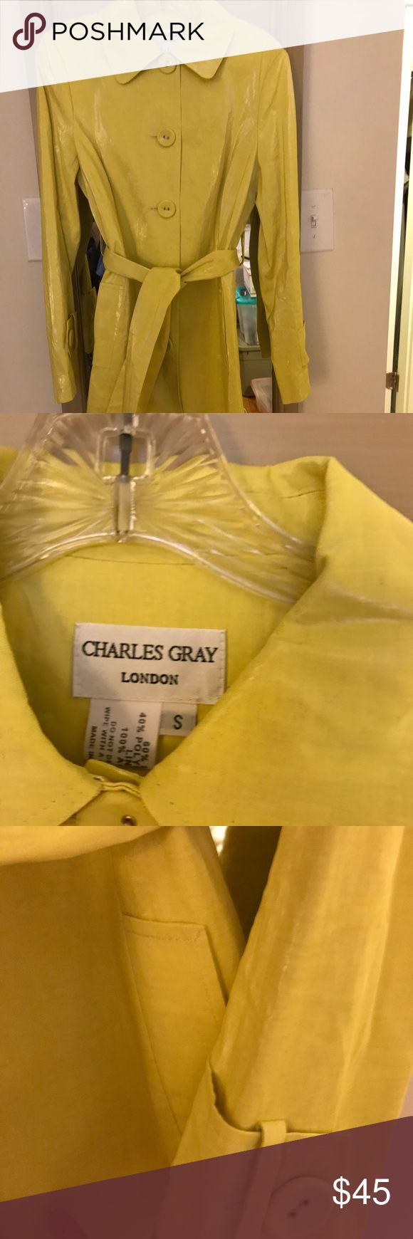 Raincoat Charles Gray.  London Polyurethane lining  Linen treated with beautiful waterproofing sheen  Side belt loops Front button Photos don't do this adorable coat justice!! It is in excellent condition. Barely worn. Charles Gray Jackets & Coats Utility Jackets