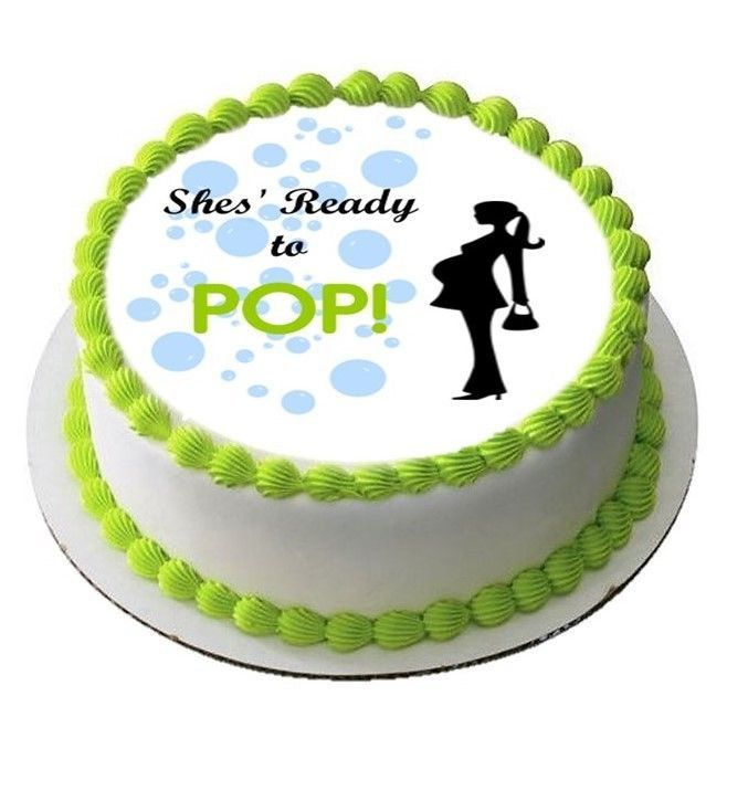 Shes Ready To Pop Baby Shower Boy Edible Cake Image Topper