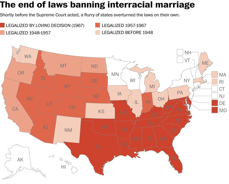 The last anti-interracial marriage law was overturned in 2000.