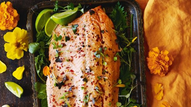 Chilli baked side of salmon