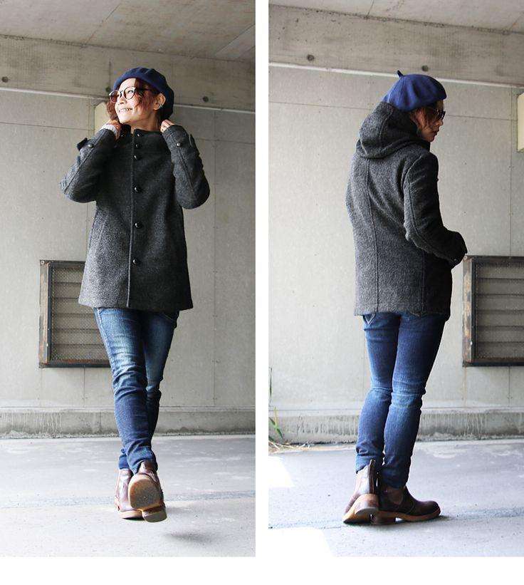 この軽さで、この暖かさ。本当に驚きでした。ショート丈 フードジャケット  スライバー ウールニット   。【予約販売】【送料無料】 Audience [オーディエンス] ショート丈 フードジャケット ウールニット スタンドネック スリムシルエット チャコール メンズ レディース |暖かい ウール 秋物 秋服 秋冬 冬服 冬物 ジャケット