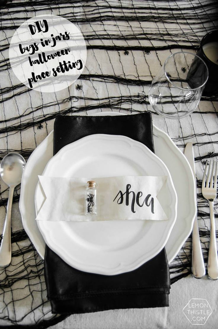 diy bugs in jars for a simple spooky halloween place setting - Halloween Place Settings