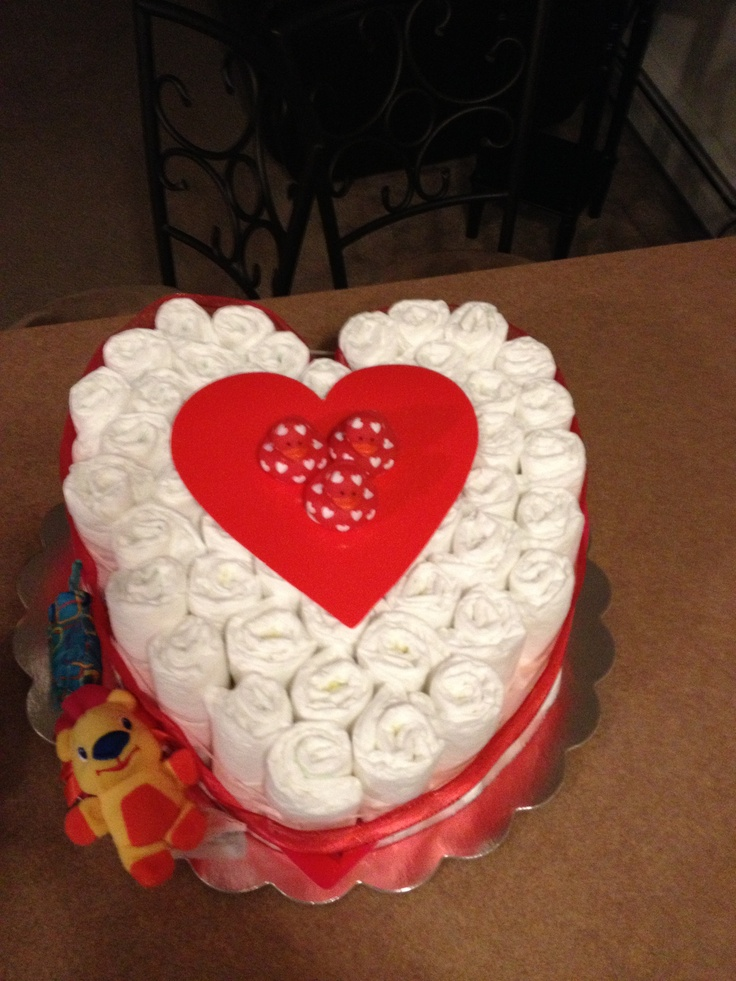 Baby Shaped Cake Images : A heart shaped diaper cake I made for my nephew DIY ...