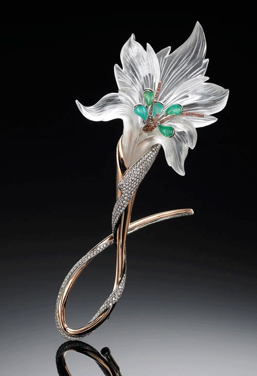 "Julie Buckareff, Rock Crystal Quartz Flower Brooch: ""This piece, completely assembled with the use of a laser welder, combines rock crystal quartz, white diamonds (ideal cut, hearts & arrows), pink diamonds (natural color), Peruvian opal, 18k rose gold, and palladium"""