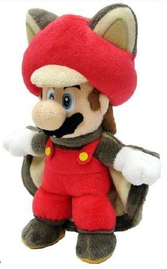 Mario y Luigi son dos hermanos que deben rescatar a la Princesa Peach del Reino Champiñón. Luigi tiene habilidades similares a las de Mario pero el color de su traje y del sombrero son de color verde en lugar de rojo. Al compartir destrezas, ambos pueden convertirse en Ardilla Voladora, estado de Mario en este bonito peluche del hermano de Luigi.