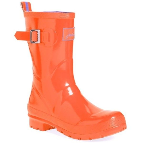 Women's Joules 'Kelly Welly' Rain Boot ($63) ❤ liked on Polyvore featuring shoes, boots, mid-calf boots, orange, wellies boots, orange shoes, rubber boots and orange rain boots