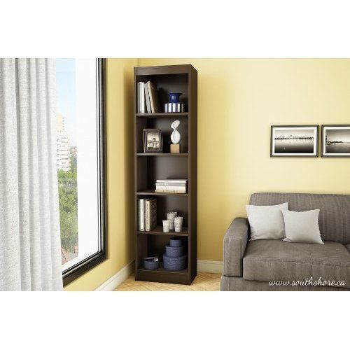 Narrow Adjustable 5 Shelf Bookcase Storage Furniture Office Home Bookshelf Decor #NarrowAdjustable5ShelfBookcase #Modern