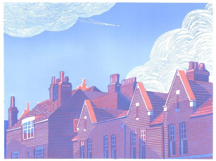 Bank Street, Rugby. Reduction Linocut. copyright E Gaskell 2015