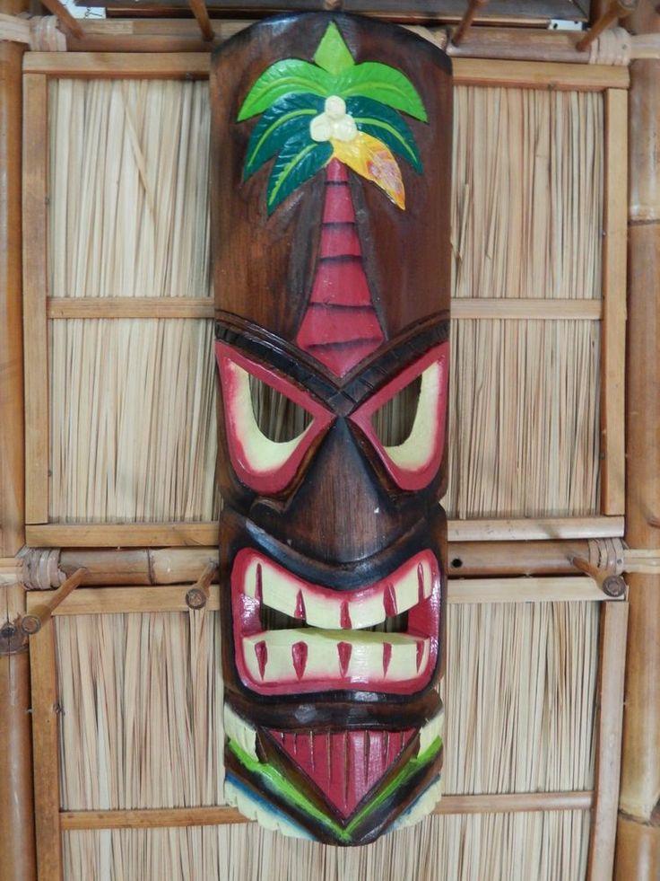 Hand Carved 20 Quot Wood Tiki Mask Hawaiian Tribal Polynesian