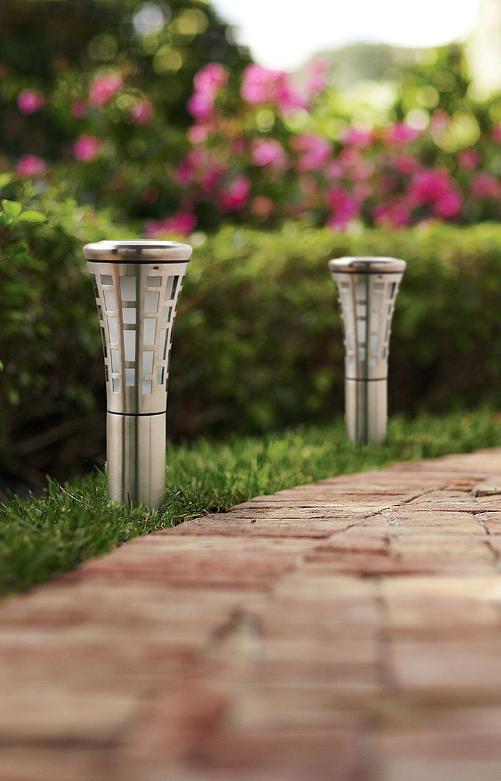 Outdoor lighting company lightscapes southern outdoor lighting - The Stainless Steel And Beveled Glass Of These Solar Powered Led Bollards Have A Sleek Pathway Lightinglandscape