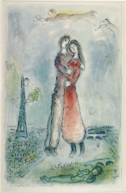 "artvecher:  This is one of my favourite works by Marc Chagall (1887 - 1985). It is called ""La Joie"" (1980) which means ""Happiness"". Chagall ..."