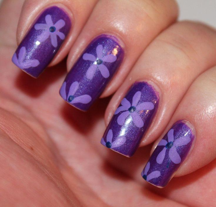 Sweet Purple Glitter Nail Art Design Idea With Simple Flowers Motif Idea -  Purple Nail Art - 253 Best Acrylic Nails Images On Pinterest Acrylic Nail Designs
