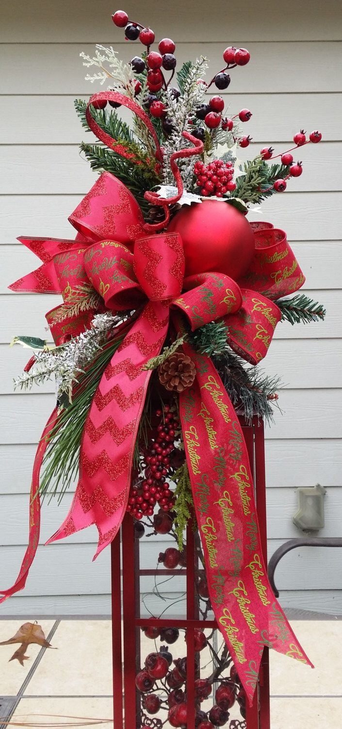 Christmas Lantern Swag, Large Lantern Swag, Red Lantern Swag, Elegant Swag, Tall Lantern Swag. Holiday Lantern Swag, Chevron Ribbon Swag by TheChicyShackWreaths on Etsy https://www.etsy.com/listing/209115086/christmas-lantern-swag-large-lantern