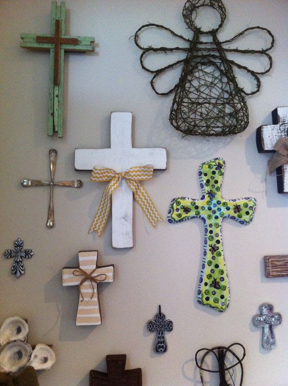 Rustic wall cross by GinnyLinnyArt on Etsy, $25.00