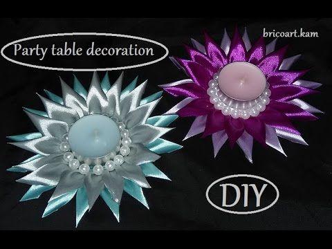 DIY/Kanzashi flower tutorial/Party table decoration/MK/Подсвечник/канзаши: bricoart.kam - YouTube