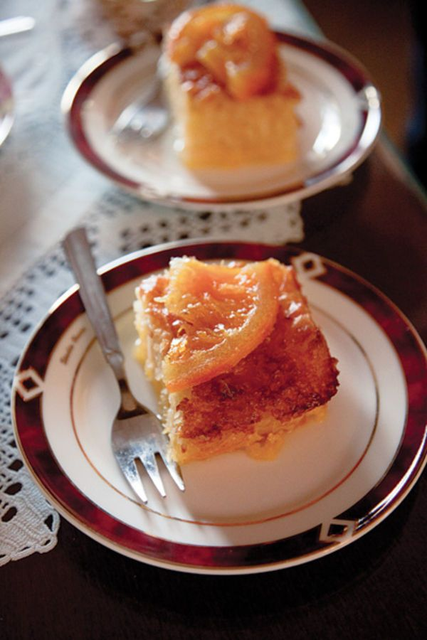 Chopped phyllo dough gives this orange-scented custard cake from Crete its layered texture.