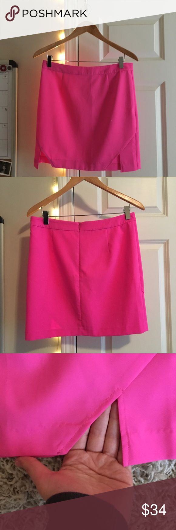 NWOT Hot Pink Skirt this awesome hot pink skirt with adorable tiny slits in the front is perfect for any occasion this summer! this skirt goes well with a Blouse or a tight white or black shirt! Can be worn with anything! This is a US 6, AUS 10, EUR 38 Skirts Mini