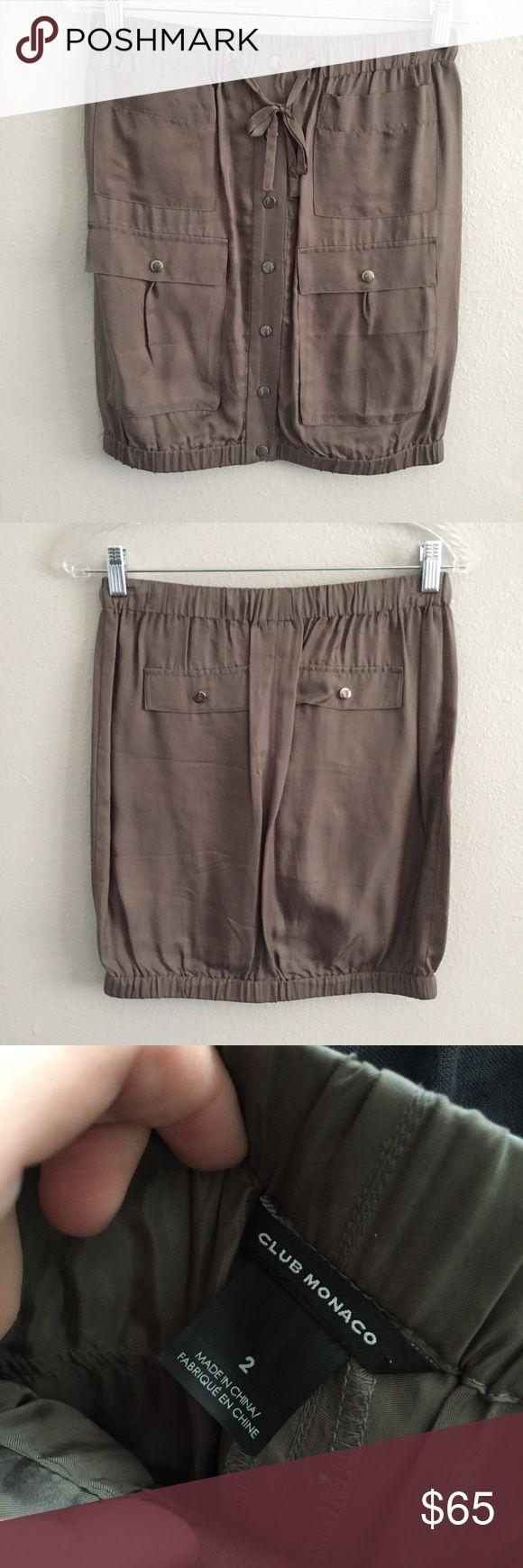 Club Monaco - Military Skirt Military inspired skirt. Hits right about the knee. 100% Cupro Silk Club Monaco Skirts Mini