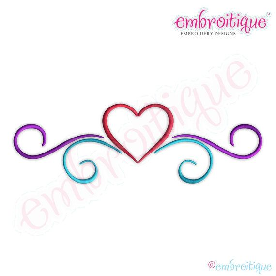 Simple Heart Flourish Border - Large - by Embroitique on Etsy.com