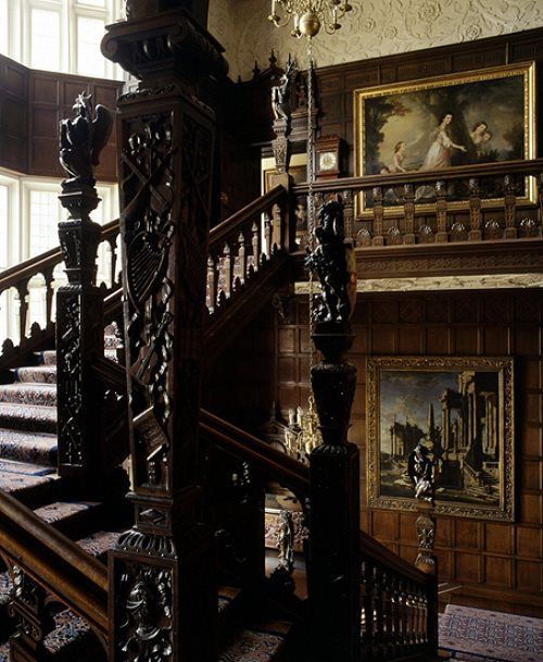 Gothic Inspired Interiors With Framed Wall Arts And Carved Wooden Stair , House  Gothic Inspired Interiors In Home Designs And Decor Category