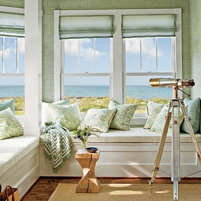waterfront living: master bedroom sitting areaBeach House, Windows Seats, The View, Reading Nooks, Master Bedrooms, Coastal Living, Window Seats, Ocean View, Beachhouse