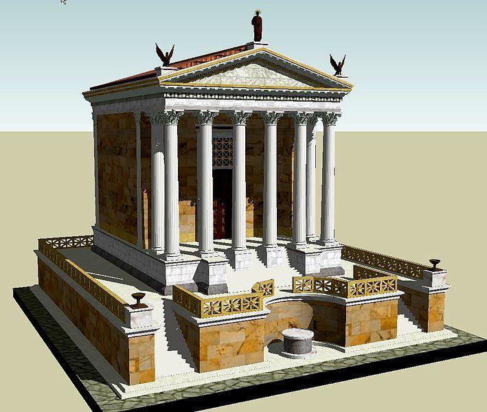 Templo do Divus Iulius - Estas tres grandes columnas pertencían ó templo de Cástor e Pólux. Construído no 484 a.C. conmemoraba a victoria dos romanos contra os latinos na batalla do lago Regilo, anunciada por estes dous heroes divinizados. En cada aniversario desta data, cinco mil cabaleiros ían en procesión ata ese lugar.