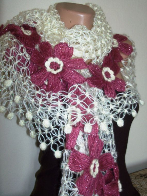 romantic and cool feel whitepink shawl by colourfulrose on Etsy, $35.50