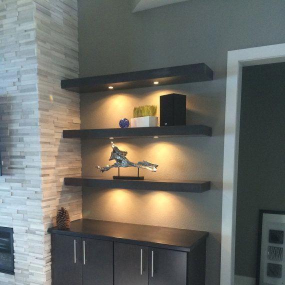 Espresso Floating Shelf With Led Lights Hollow Interior For A Lightweight Stable Shelf Measures 60l X 8 Floating Shelves Shelves Floating Shelves With Lights
