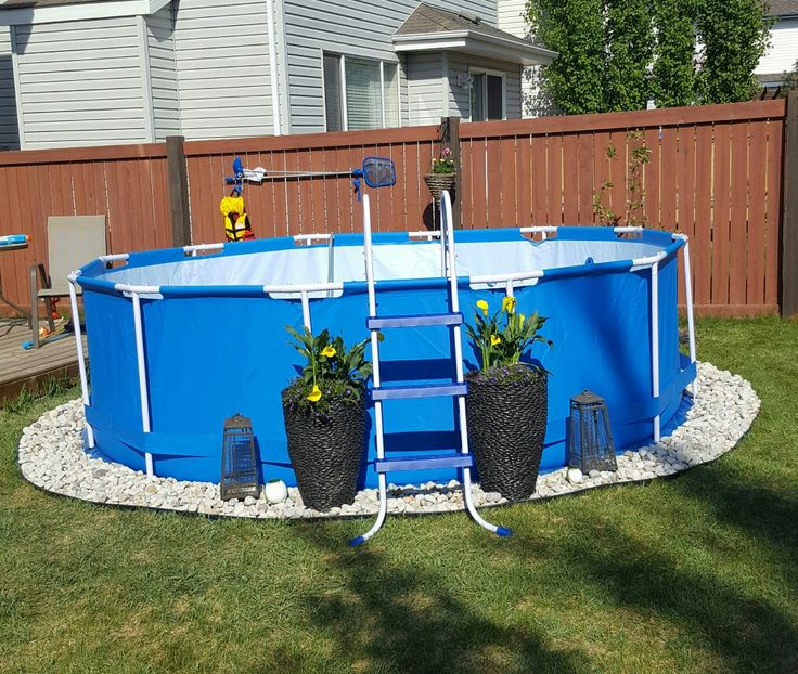 Above ground pool landscaping backyard living summer for Above ground pool ideas on a budget
