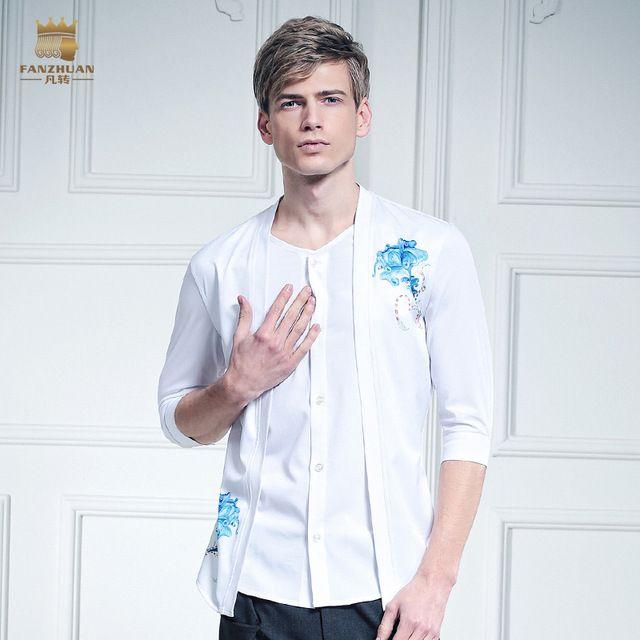 Free shipping New male Summer casual fashion Mens white half sleeve cuff  false two V self · Men's ShirtsCasual ShirtsHalf SleevesFashion ...