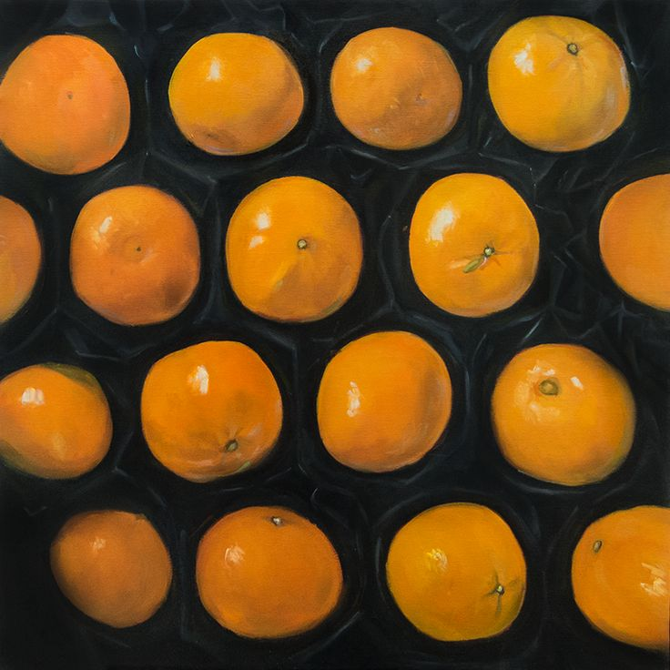 Zátiší s mandarinkami, Oil on canvas, 50x50 cm