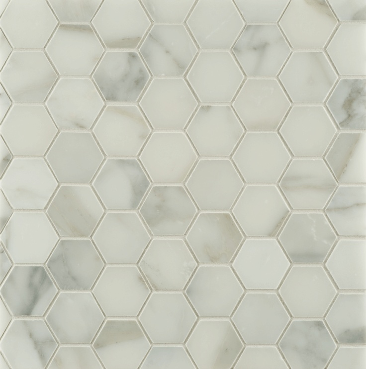 Ann sacks calacatta borghini 2 hexagon marble mosaic in honed finish graphic patterns Marble hex tile bathroom floor