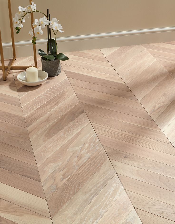 Park Avenue Chevron Frosted Oak Brushed Oiled Solid Wood