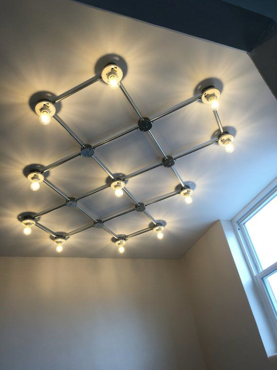 Flush Mount Grid Light Etsy In 2020 Conduit Lighting Industrial Flush Mount Lighting Light Grid