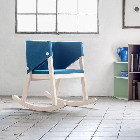 Rocking chair wrapped in felt. Ivetta Chair by Giancarlo Cutello