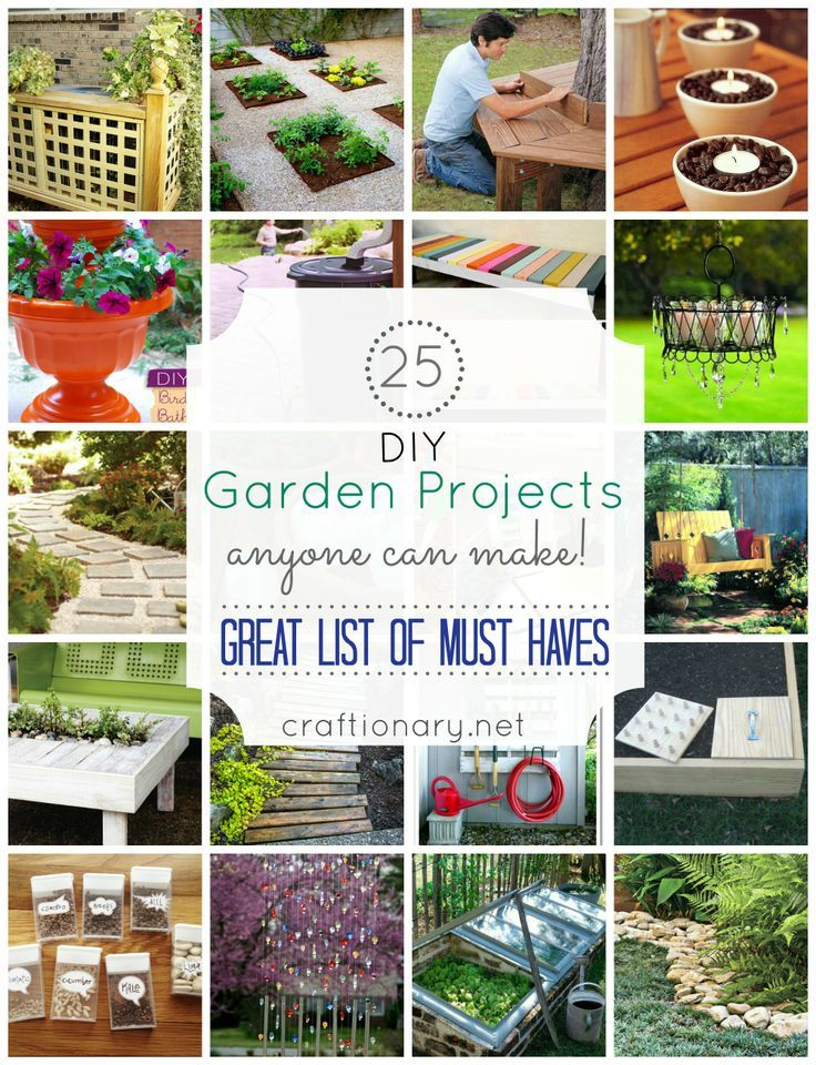 25 Easy DIY Garden Projects    Get your green thumb and your DIY juices flowing with these 25 garden DIY projects! These DIY projects will transform your ordinary backyard into a green paradise in just a few hours. You will have a garden space where you can enjoy the open air, relax and even hold a party.  You do not have to spend so much either since these ideas requires a very minimal budget