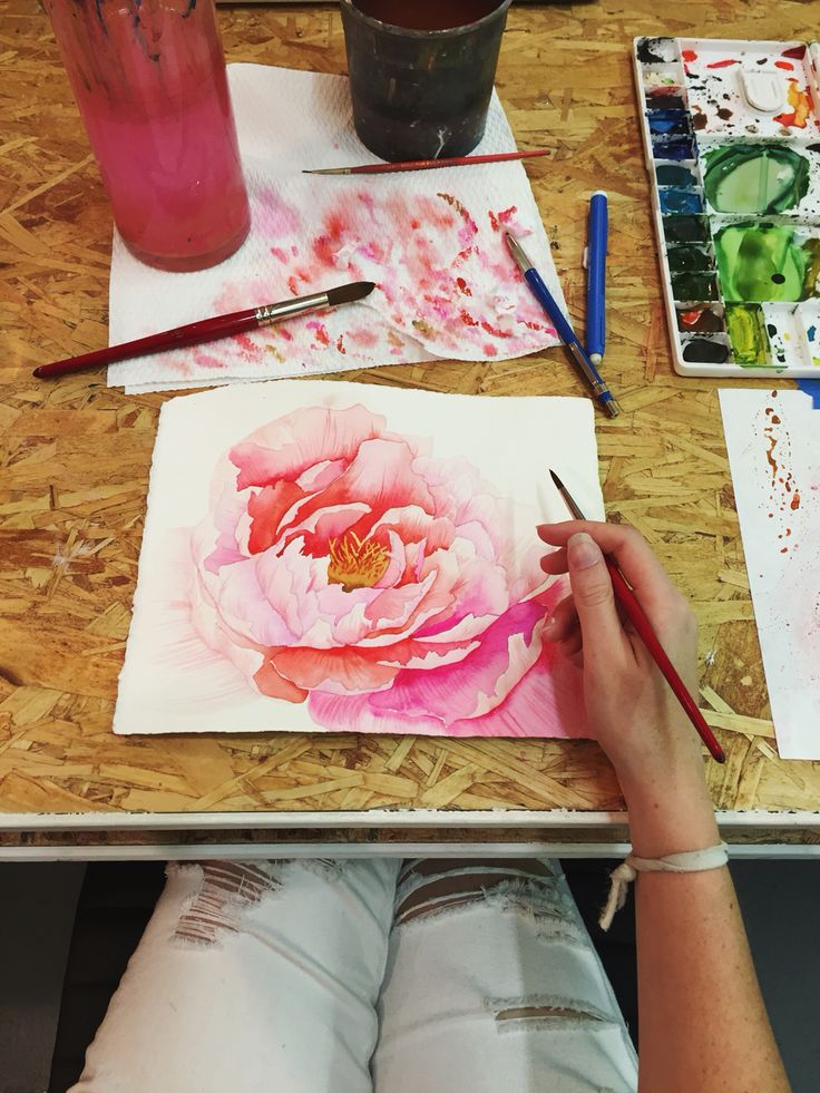 Watercolor peony by Mon Voir