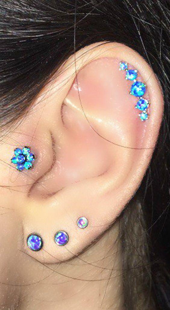 Ear Piercing Multiple Combinations Ideas at MyBodiArt.com - Opal Flower Tragus Ear Stud - 5 Opal Cartilage Earring - Triple Purple Lobe Piercings at MyBodiArt.com