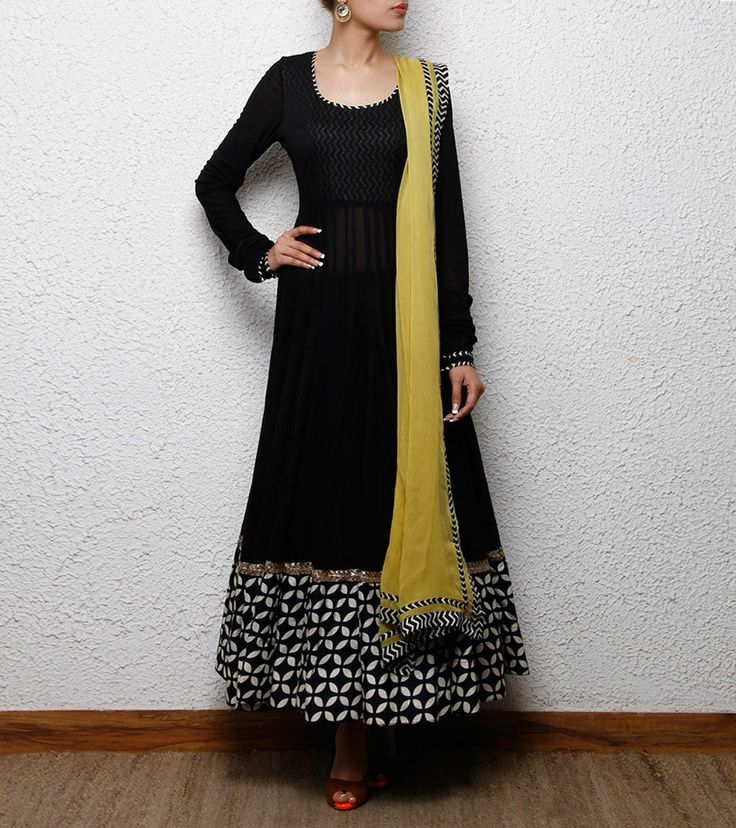 Black Cotton Anarkali Suit | by Sanskriti