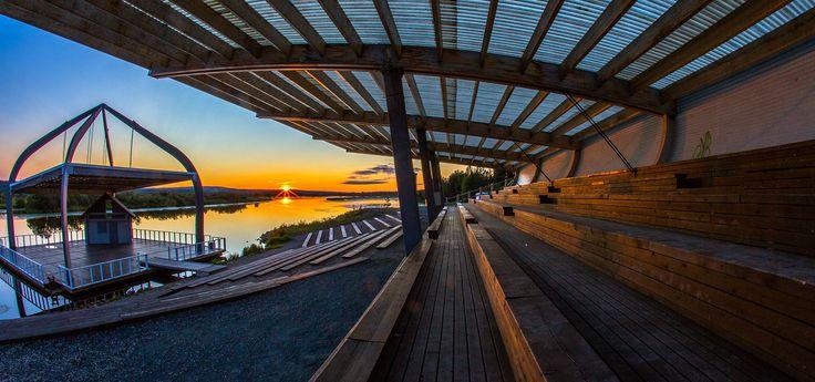 The Midnight Sun at Ounaspaviljonki outdoor event venue -Rovaniemi, Lapland, Finland