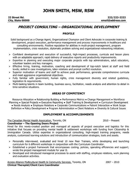 Sample Project Coordinator Resume