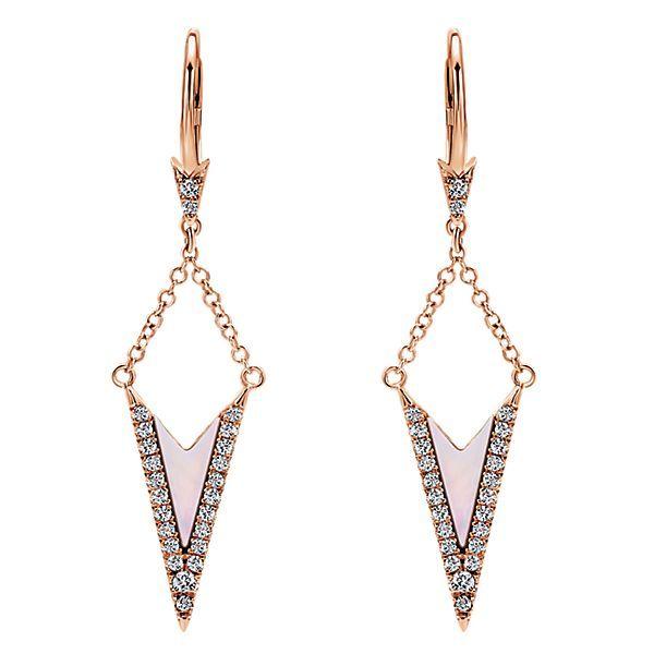 14k Rose Gold Drop Diamond White Mother Pearl Earrings