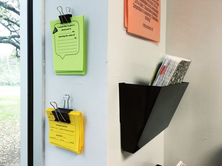 Binder clips on walls for: spare letters, homework sheets, investigations etc