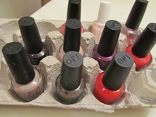 egg cartons= nail polish storage. need to save a ton of cartons for my polish and other beauty products
